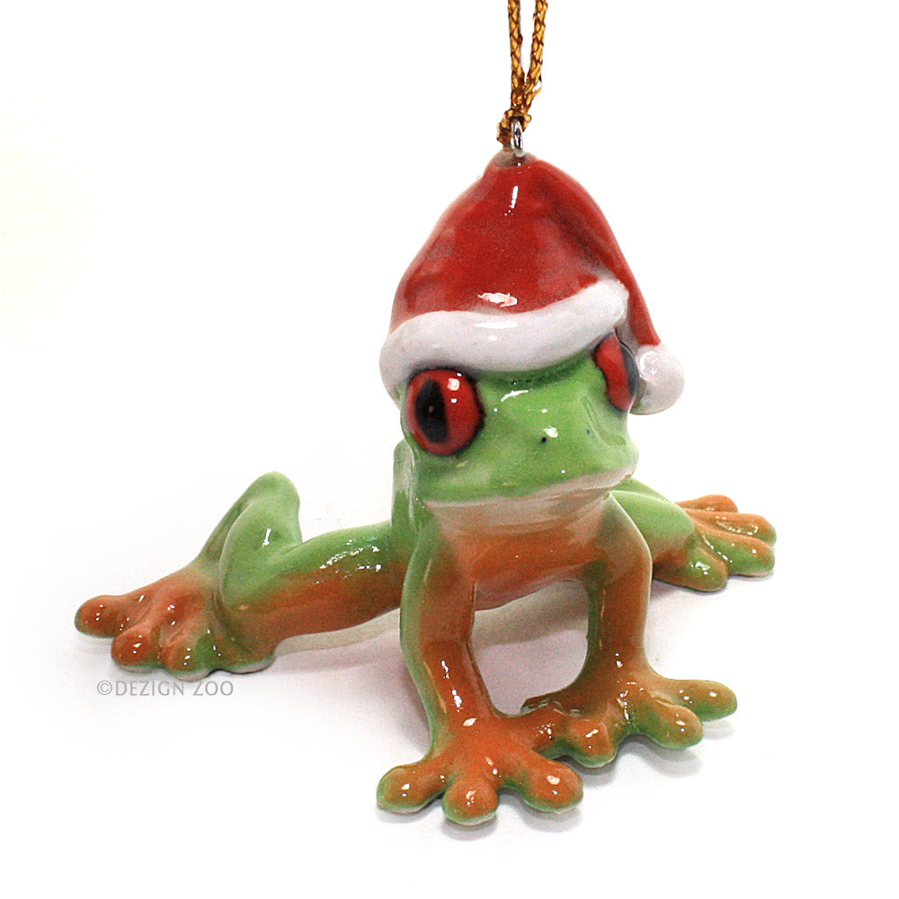 green tree frog in santa hat porcelain ornament