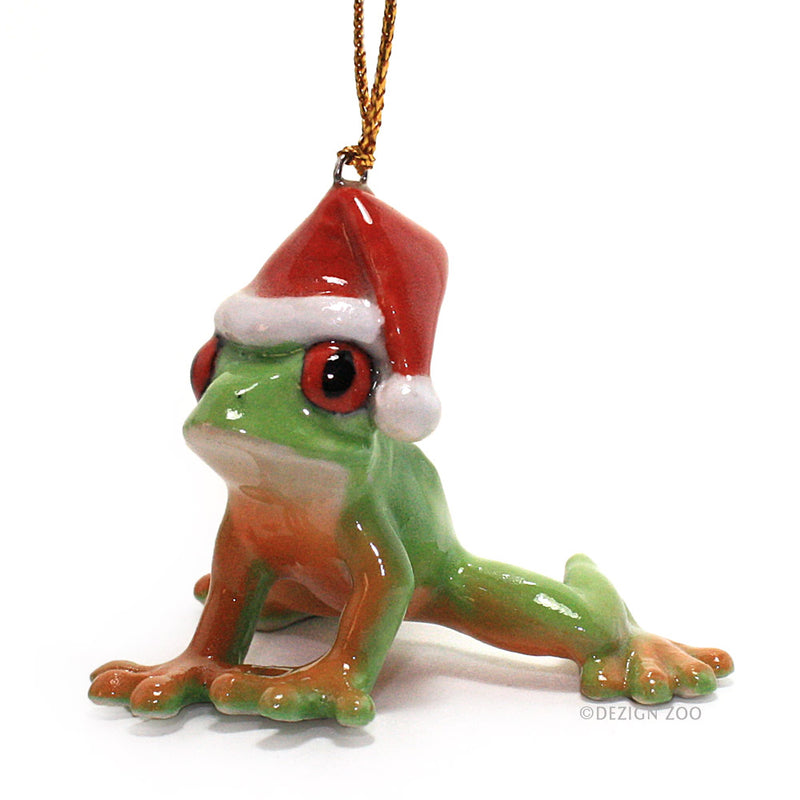green tree frog in santa hat porcelain ornament left side view