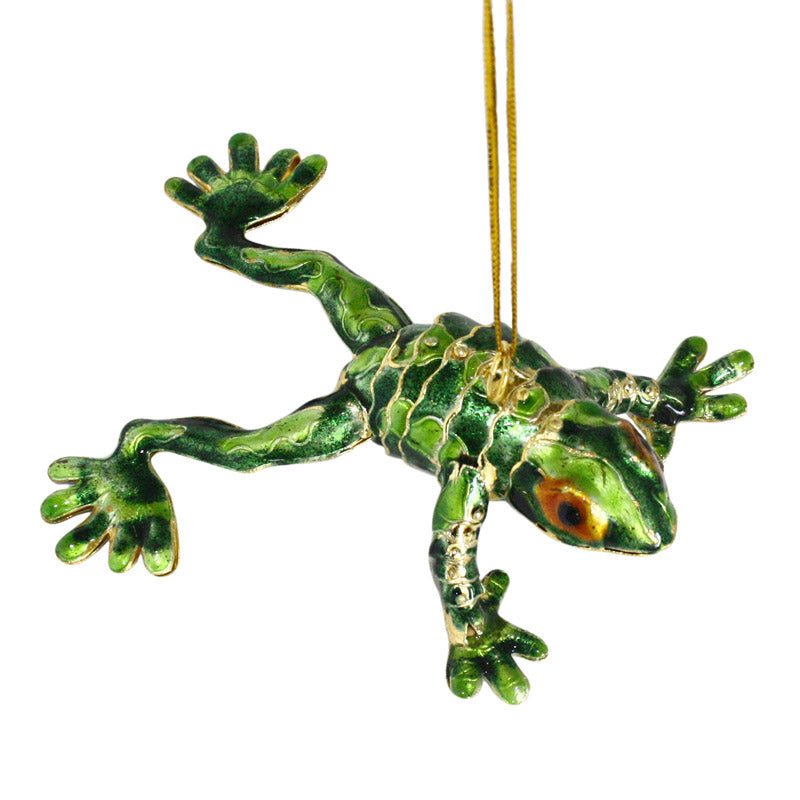 articulated cloisonne enamel green frog ornament