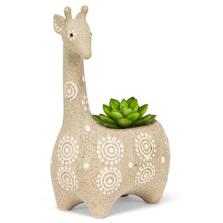 giraffe planter with succulent