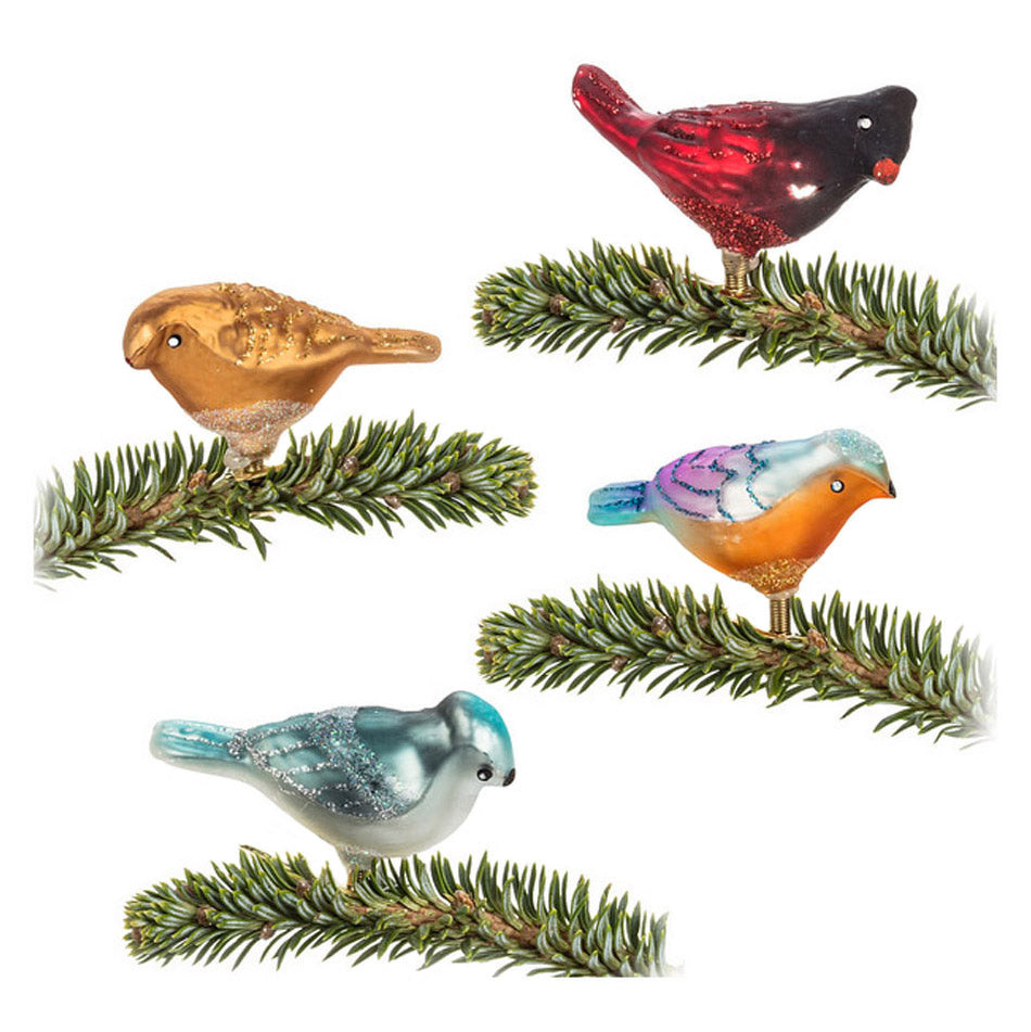 glass clip-on bird ornaments