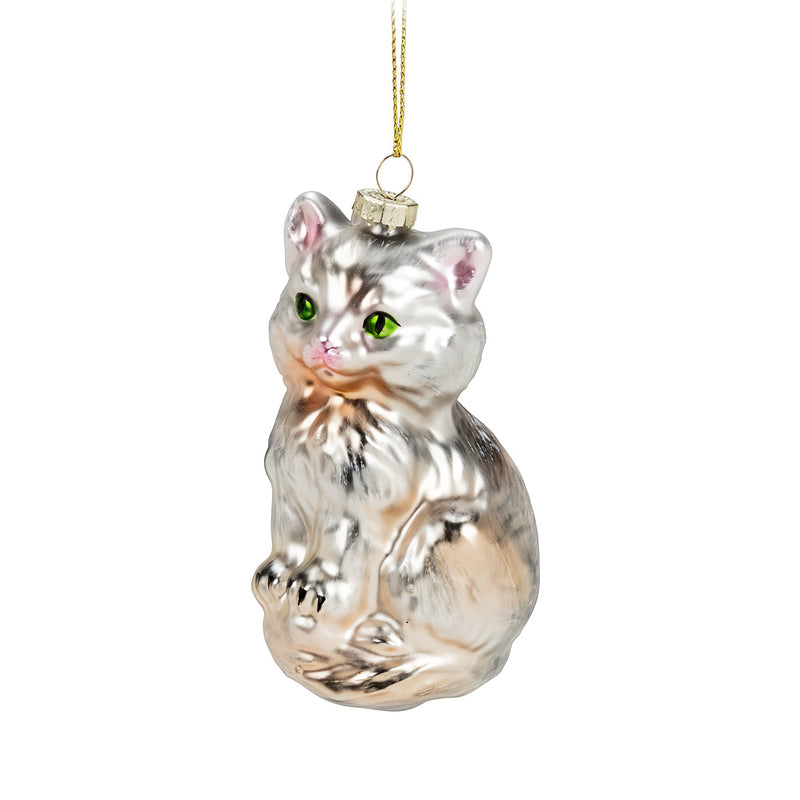 glass cat ornament