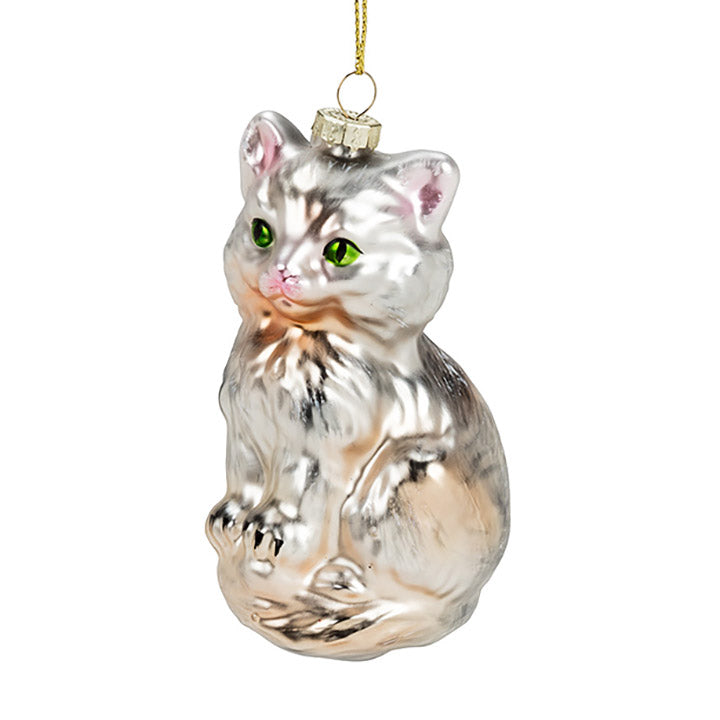glass white cat with green eyes ornament