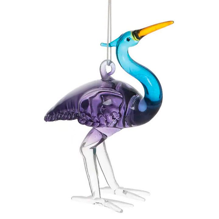 blown glass blue heron ornament