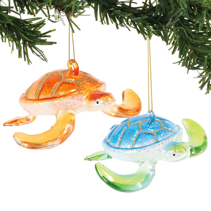 department 56 glass sea turtle christmas ornaments