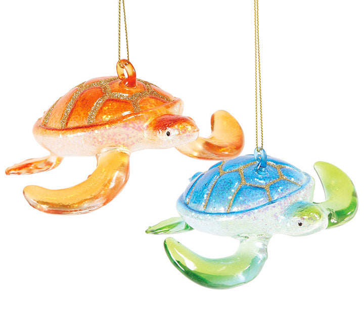 department 56 blue green and orange glass sea turtle ornaments