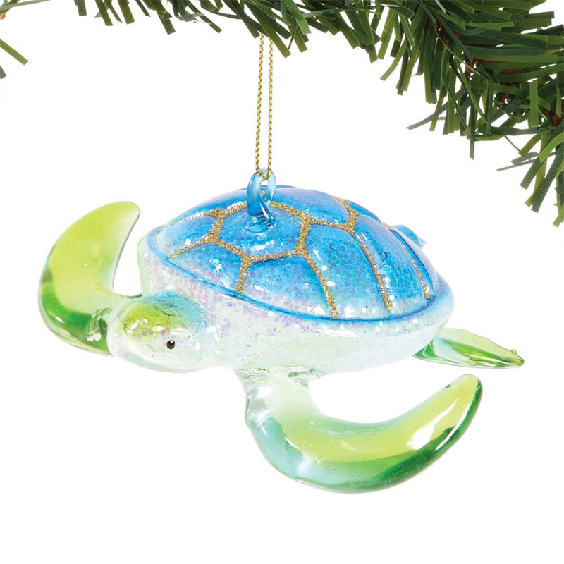 dept 56 glass blue and green sea turtle orn
