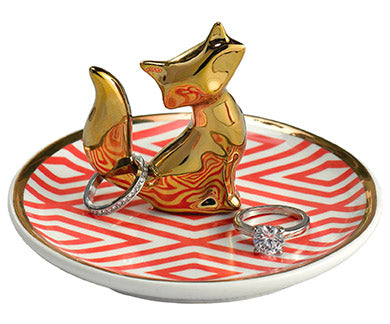 golden fox ceramic ring dish