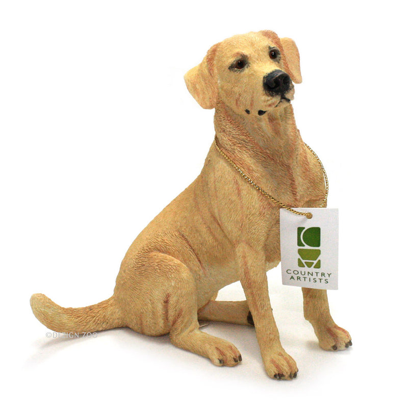 golden yellow labrador dog figurine with tag
