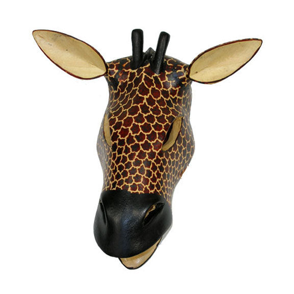 hand carved african wood giraffe wall mask