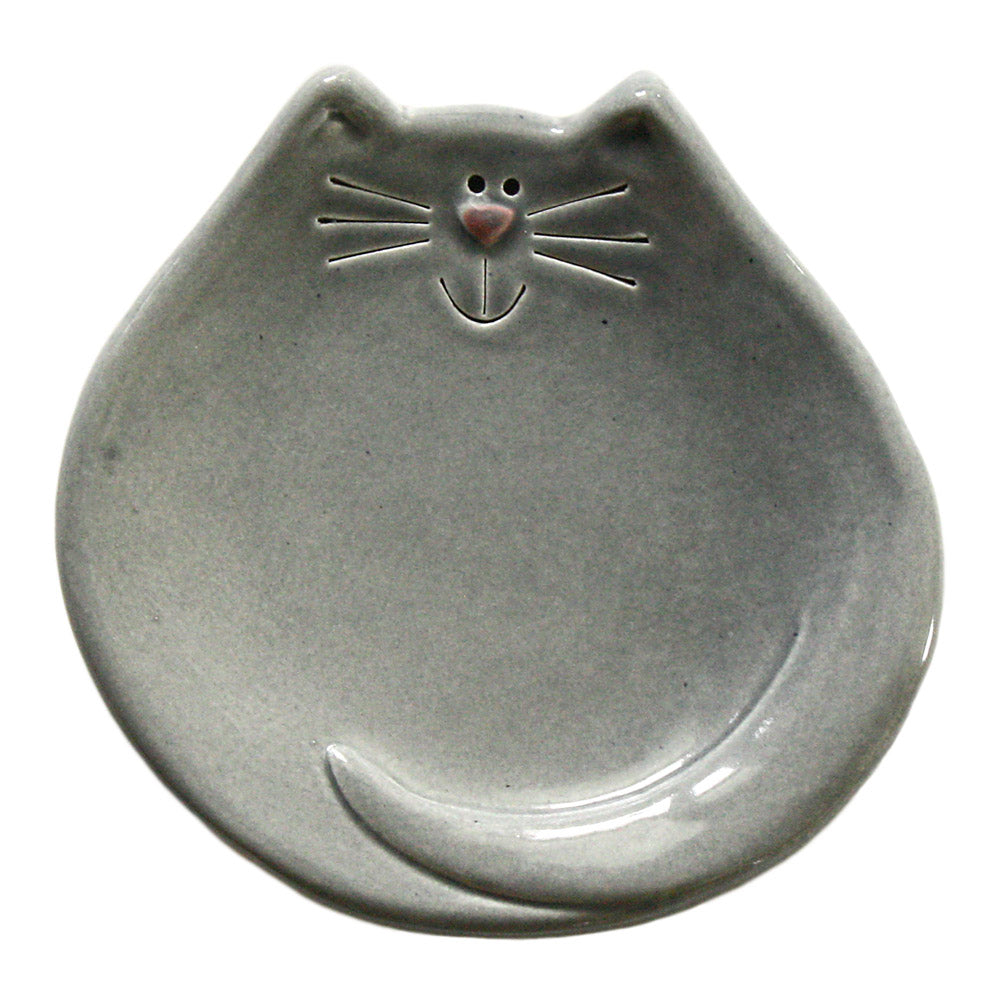 gray ceramic cat spoon rest treat dish