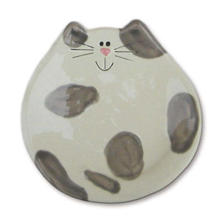 ceramic gray spotted cat spoon rest dish