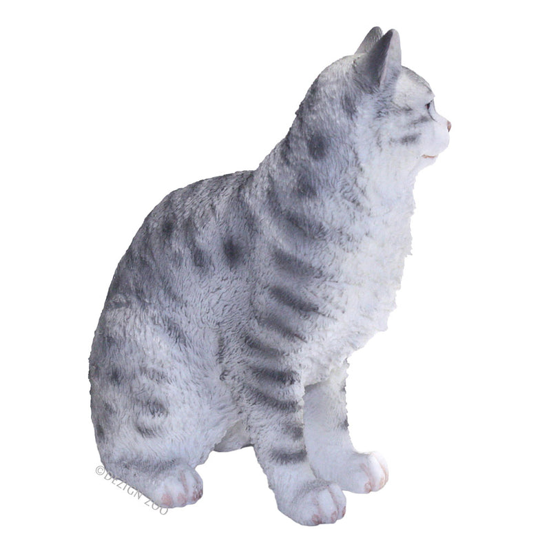 gray american shorthair tabby cat figurine side view