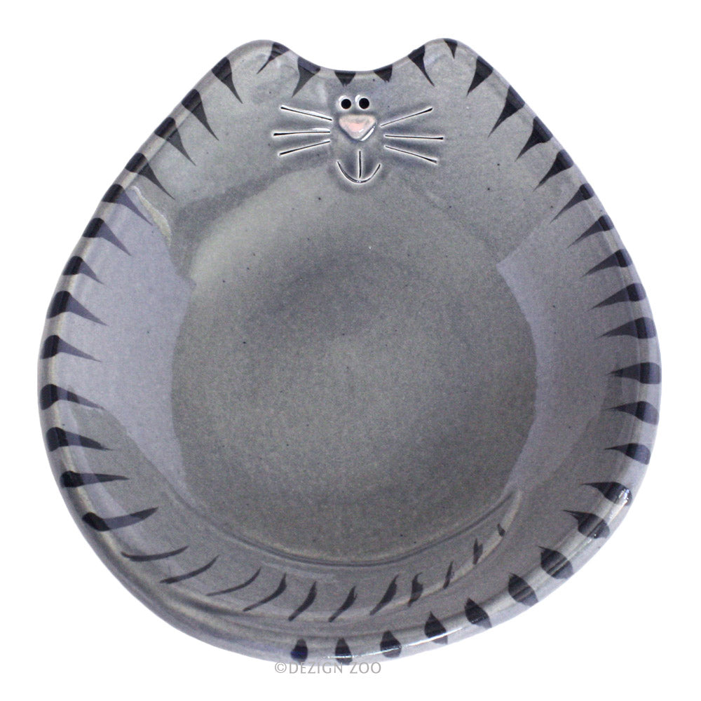 ceramic gray tiger cat feeding dish