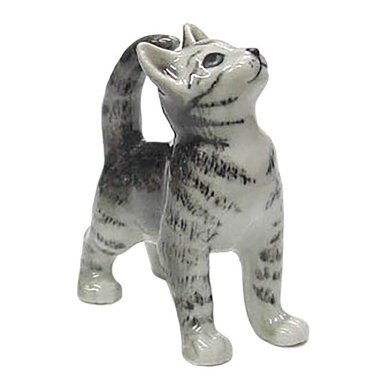 porcelain gray tiger kitten figurine