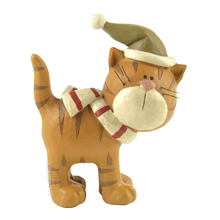 blossom bucket ginger cat in green cap figurine