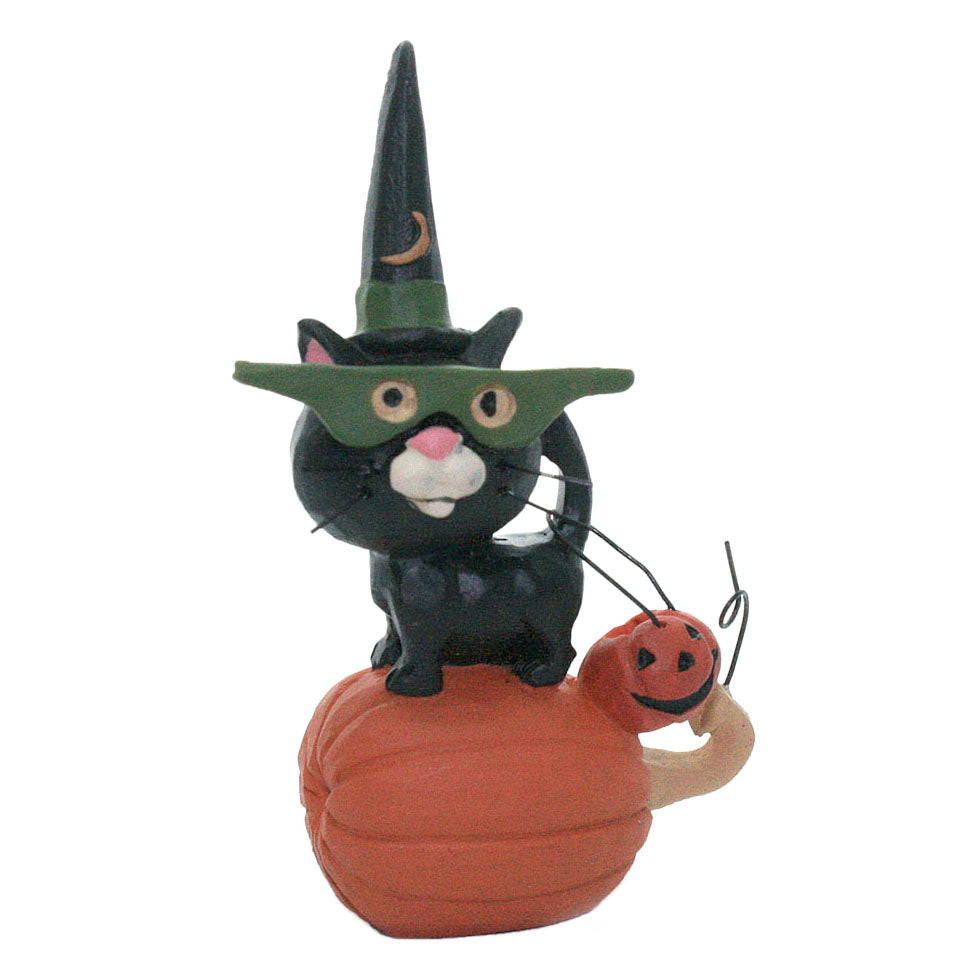 blossom bucket black cat in mask on pumpkin figurine