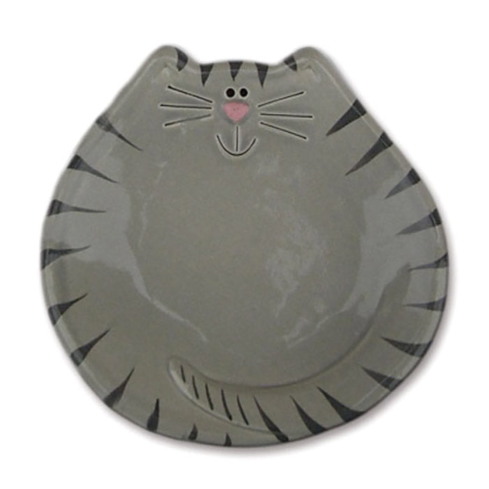 gray tiger cat ceramic spoon rest dish