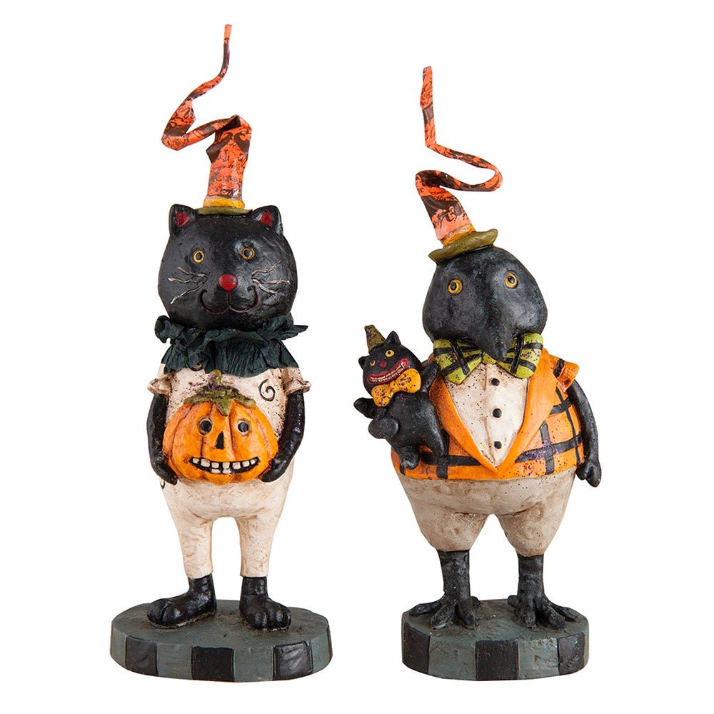 cat and crow halloween pals figurines