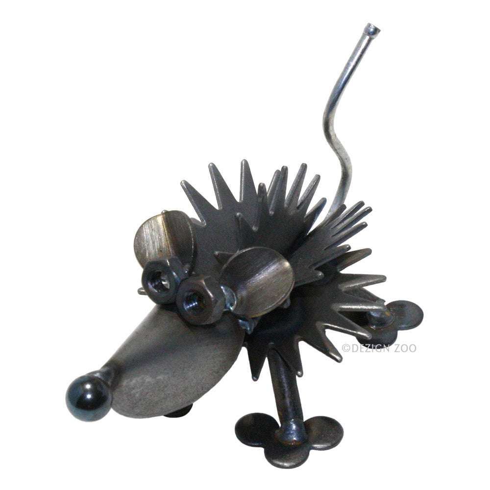recycled metal hedgehog figurine