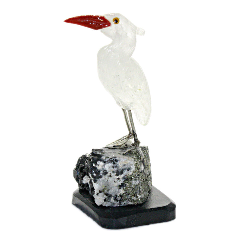 carved gemstone heron bird sculpture left side view