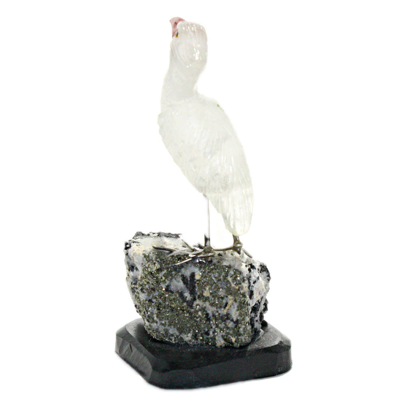 carved gemstone heron bird sculpture back view
