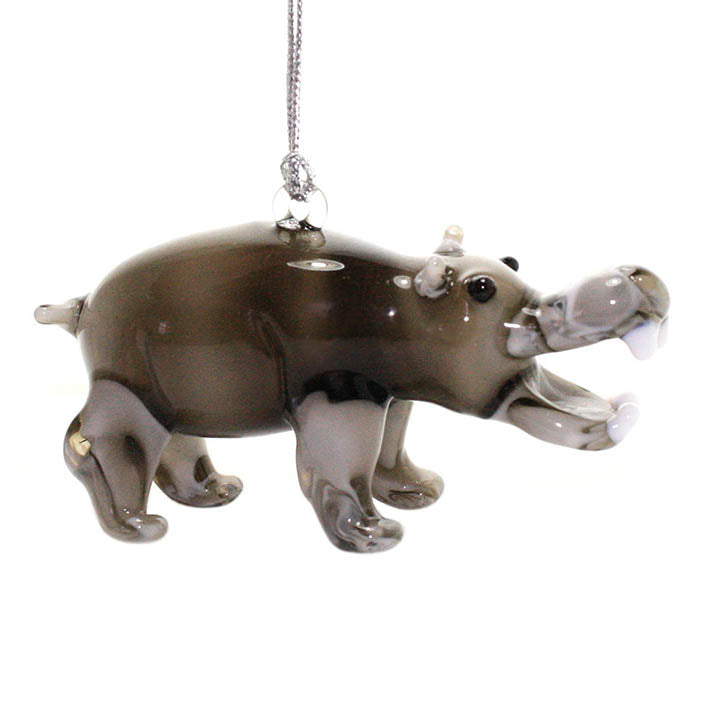 glass hippo figurine ornament