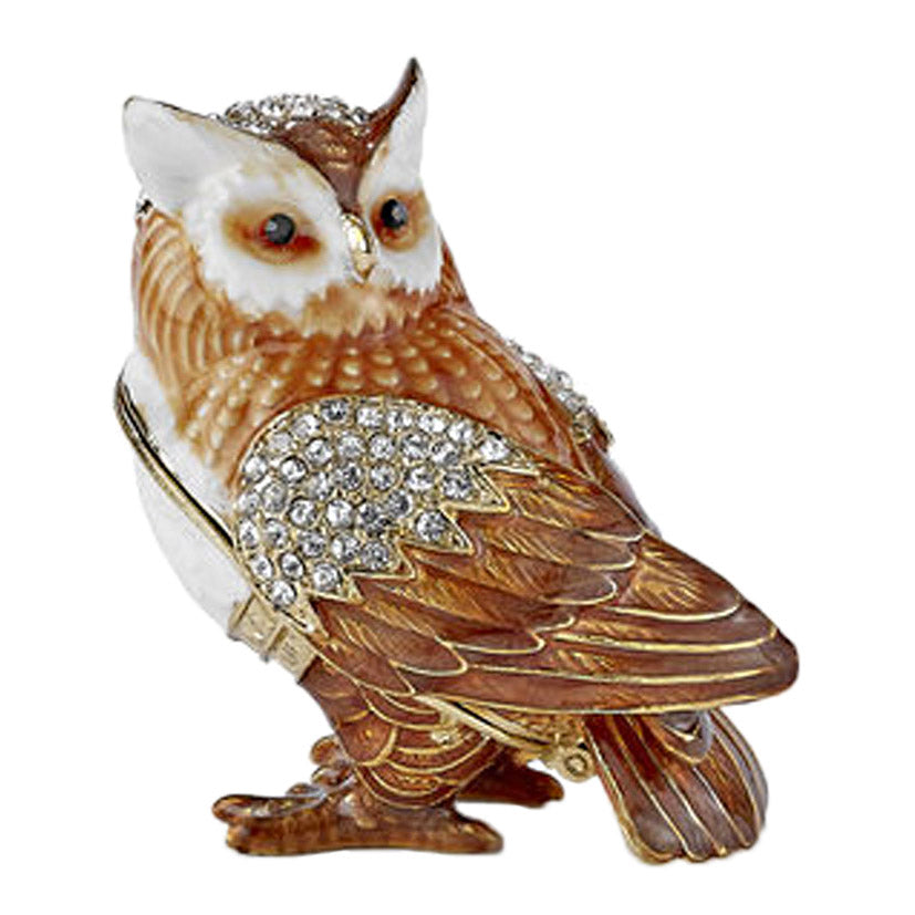crystal bejeweled enamel horned owl trinket box