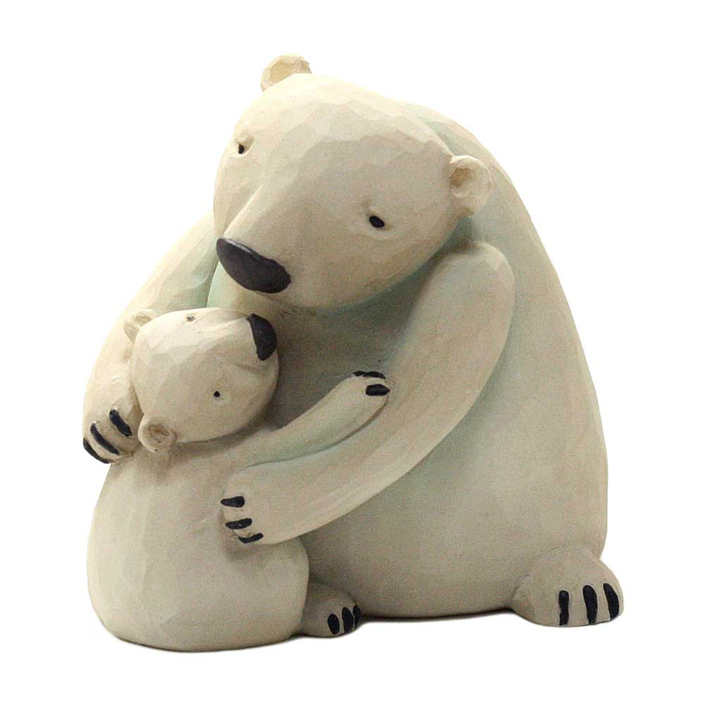 blossom bucket hugging polar bear and cub figurine
