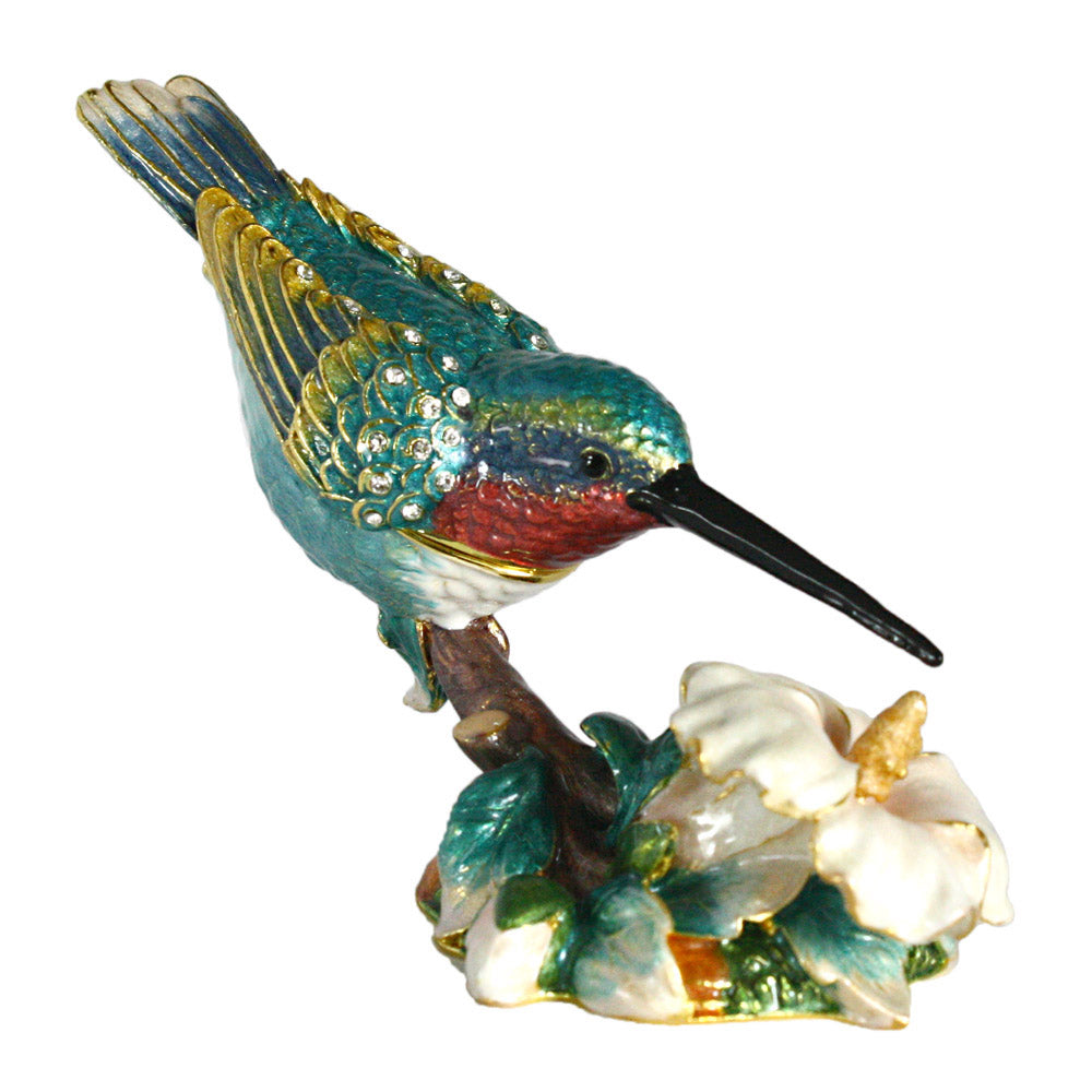 bejeweled hummingbird trinket box