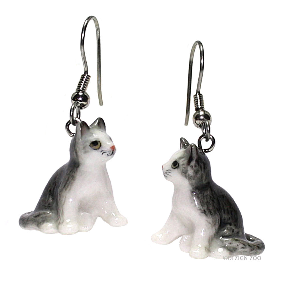 porcelain gray tabby kitten earrings