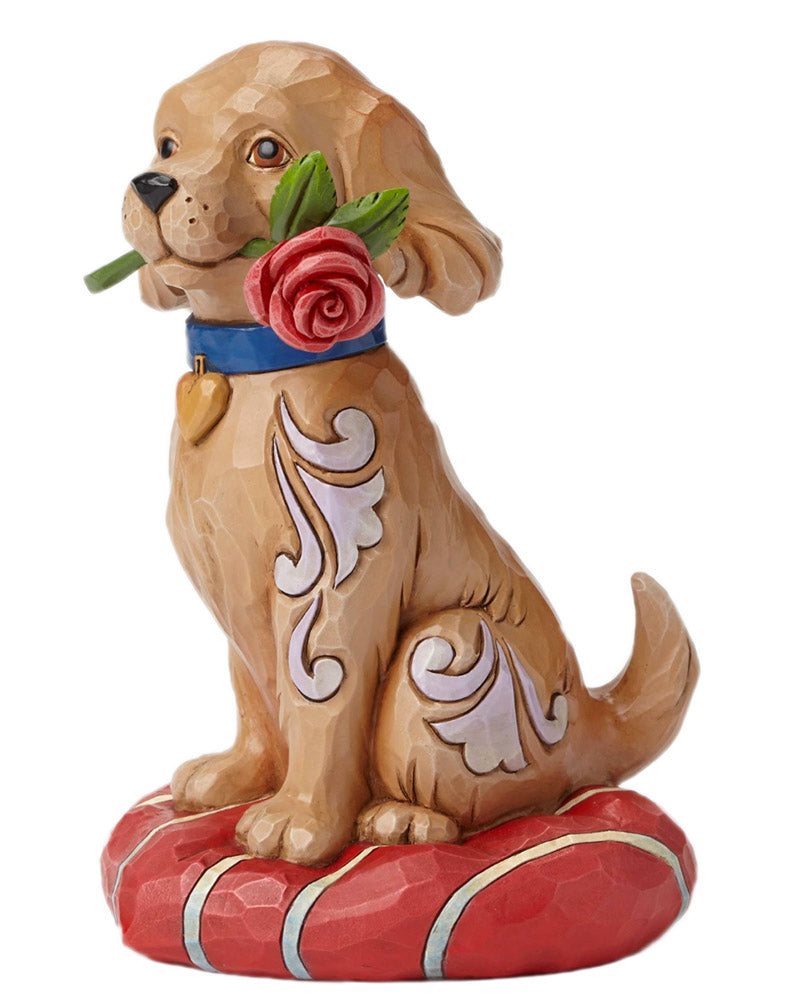 jim shore puppy with rose side view