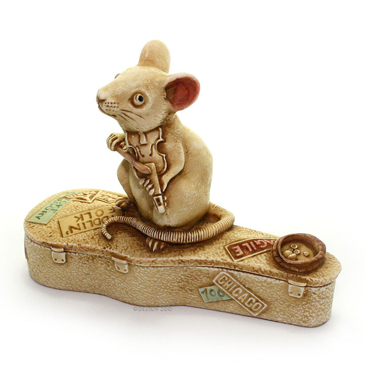 harmony kingdom mouse playing violin treasure jest left side view