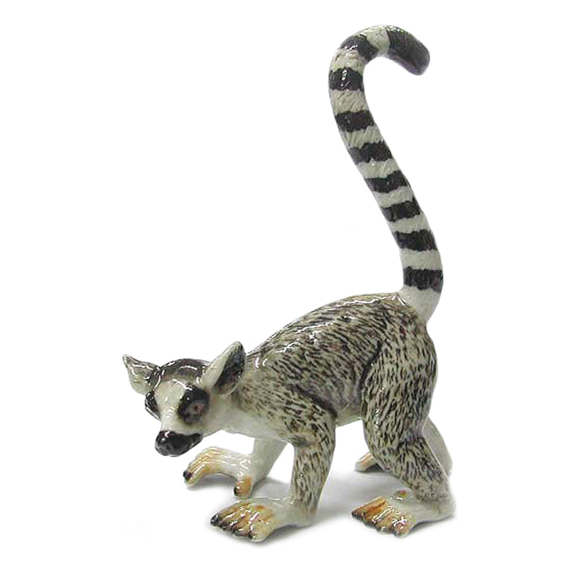miniature porcelain ring-tailed lemur figurine
