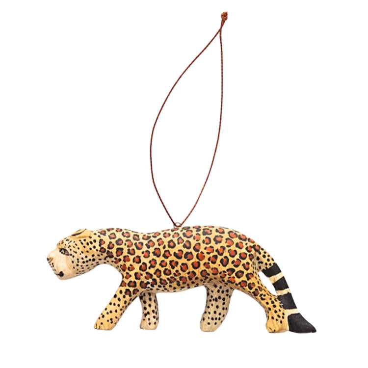 hand carved wood leopard ornament