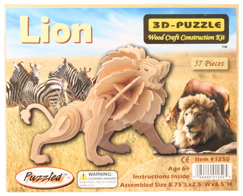 Lion wood puzzle in package