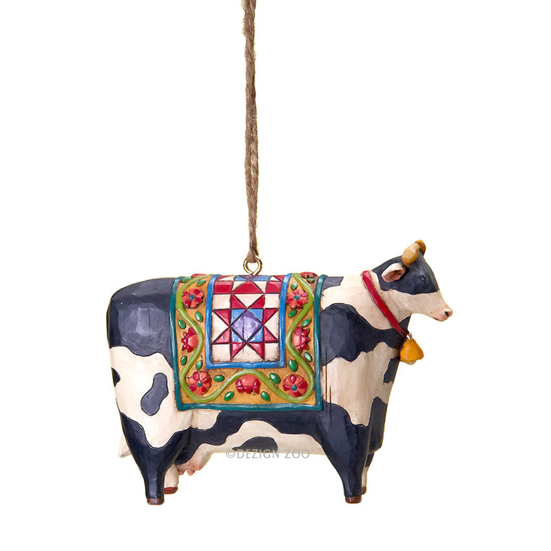 jim shore black and white cow ornament