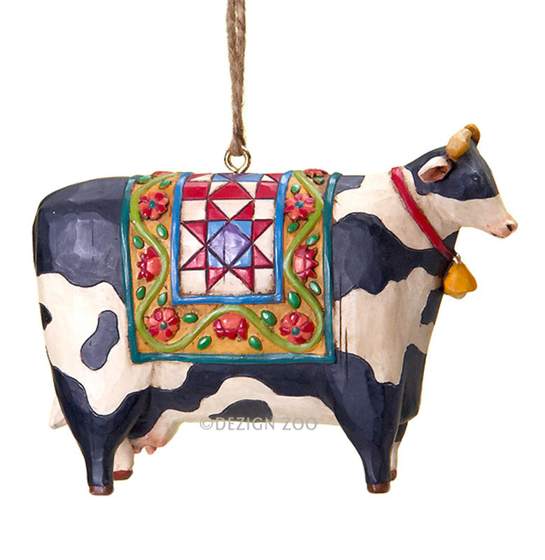 jim shore cow with blanket ornament