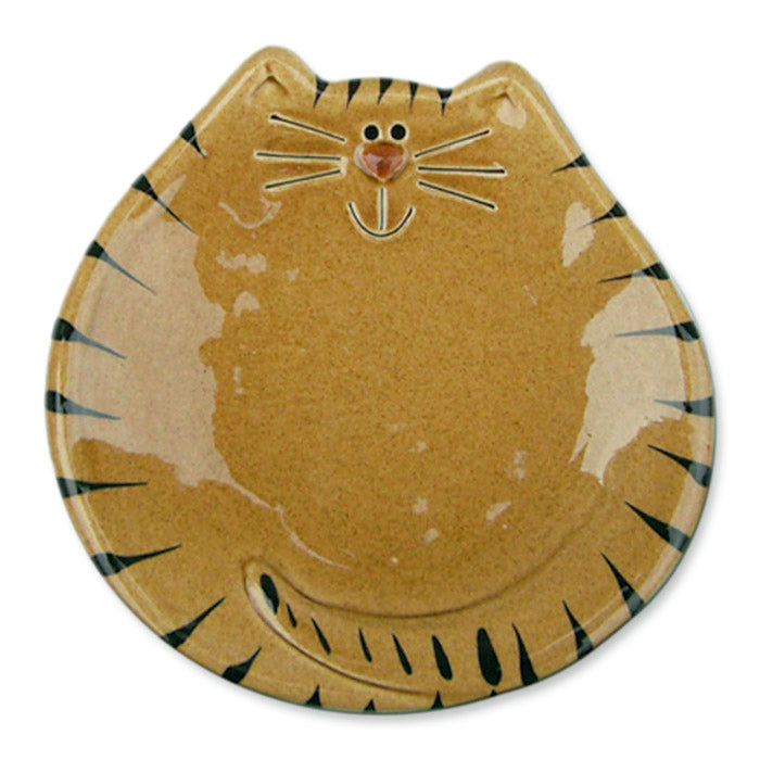 "5"" ceramic tan and black tiger cat spoon rest"