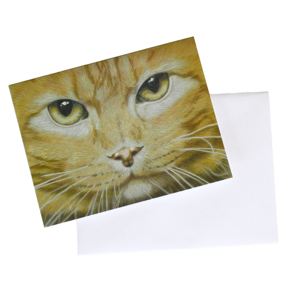 ginger tabby cat fine art note card