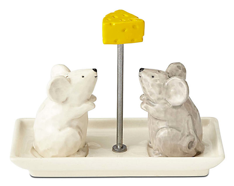 ceramic mice and cheese salt and pepper shakers