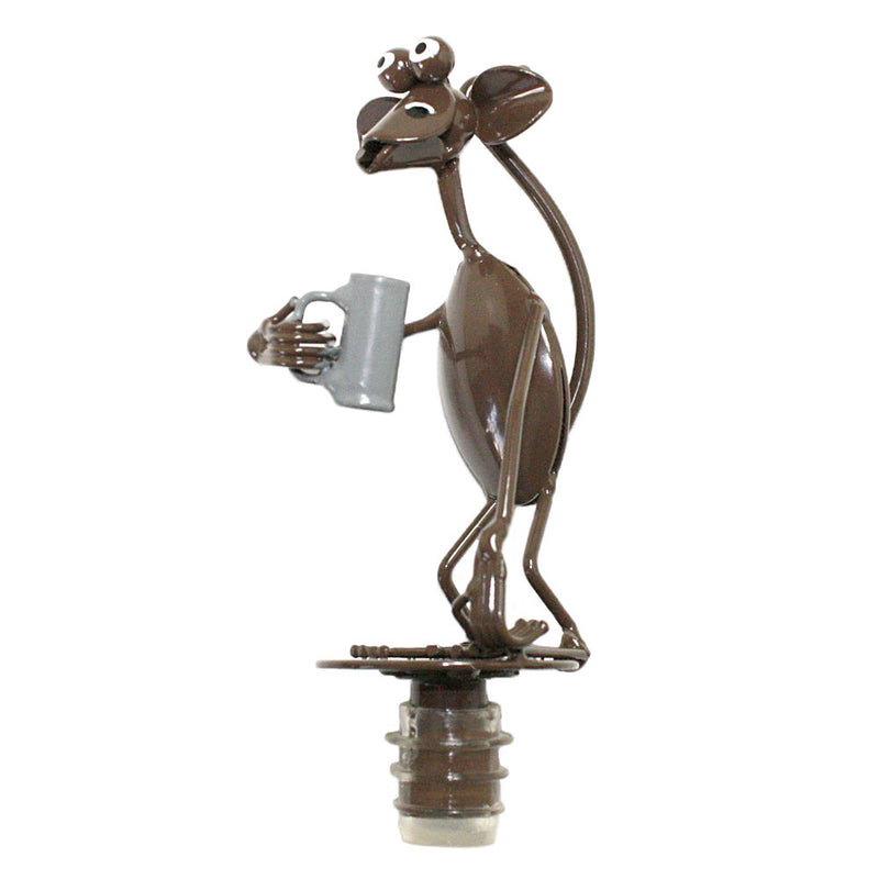 spoon sculpture monkey with beer mug bottle stopper alt view
