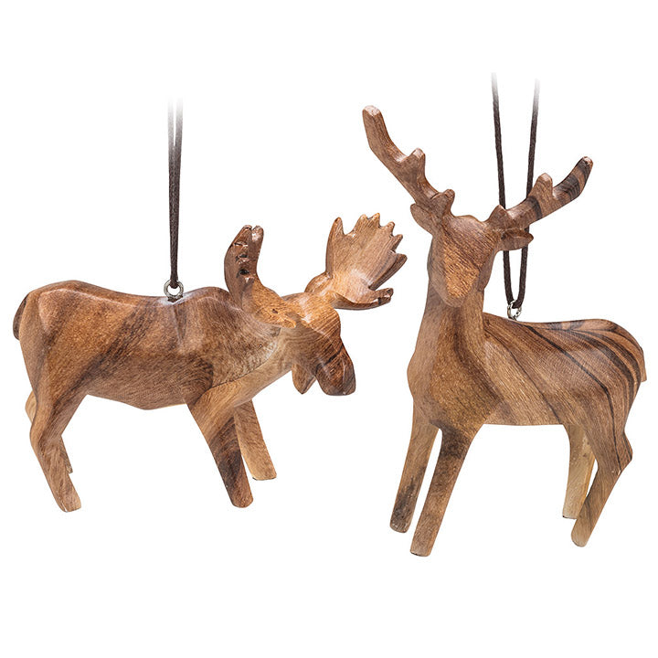 carved wood look moose and deer ornaments