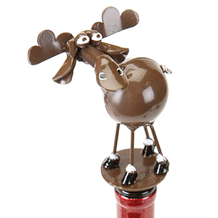 metal spoon sculpture moose bottle stopper alt view