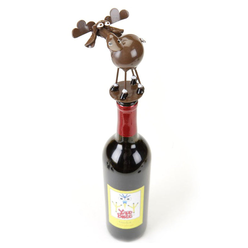 metal spoon sculpture moose stopper on bottle