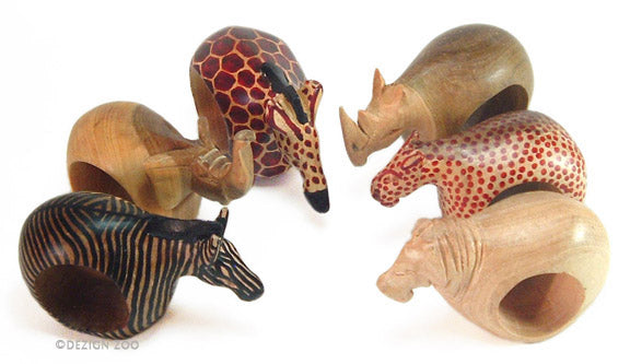 wood africa safari animal napkin rings alt view