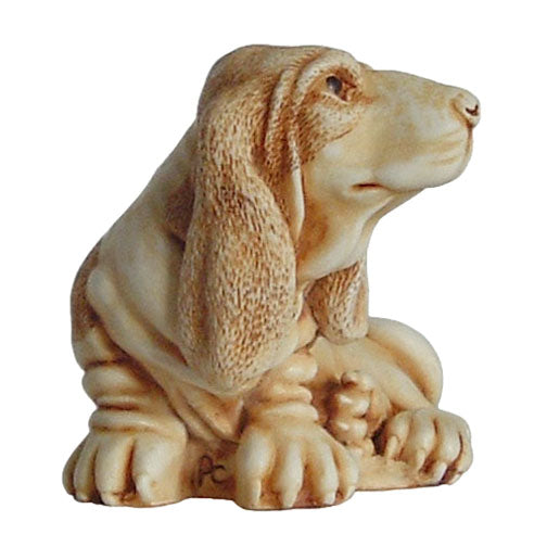 harmony kingdom nell basset hound netsuke right side view