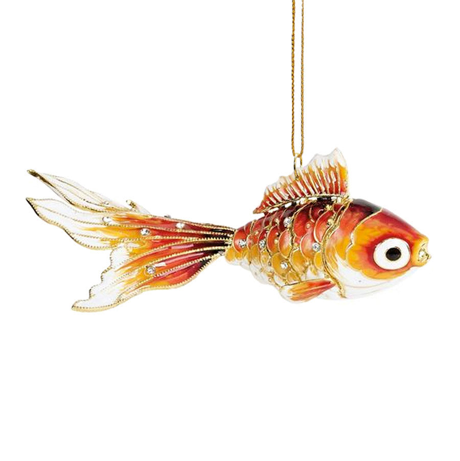 Bejeweled Orange Koi Cloisonne Fish Ornament