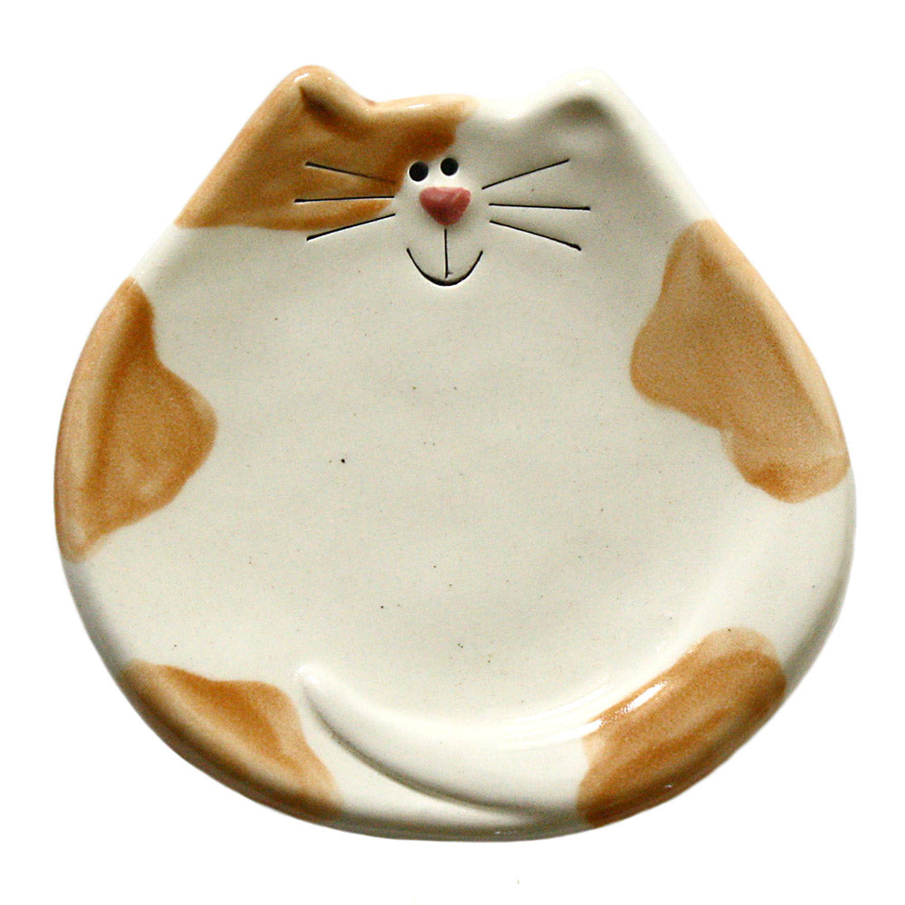 ceramic ginger spotted cat spoon rest dish