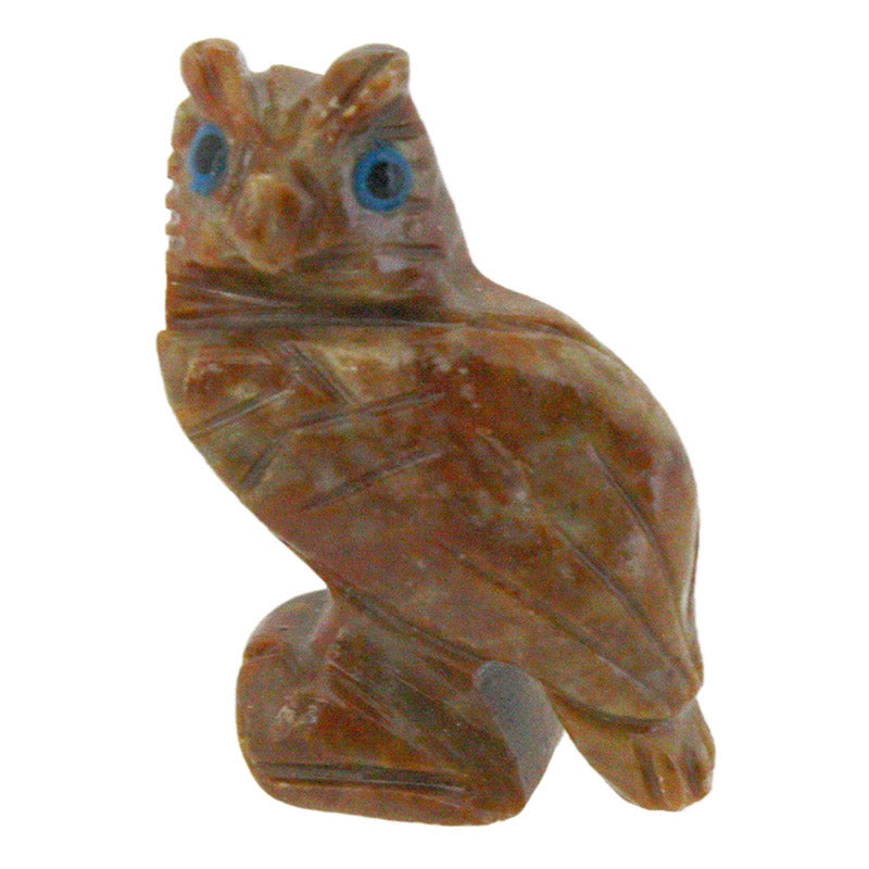 miniature carved stone horned owl figurine